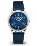Купить женские классические часы Patek Philippe Calatrava 4897-300G-001 с багетными бриллиантами