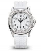 Женские кварцевые стальные часы Patek Philippe 5067A-024 с бриллиантами на каучуковом ремешке