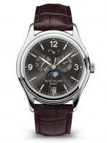 Мужские классические часы Patek Philippe Complications 5146G-010 с годовым календарем в белом золоте, грифельно-серый циферблат, кожа кроко.