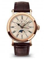 Мужские классические часы Patek Philippe Grand Complications 5159R-001 в розовом золоте, вечный календарь с фазами Луны, опаловый циферблат, коричневая кожа кроко.