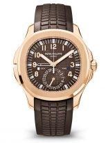 Мужские спортивные часы Patek Philippe Aquanaut 5164R-001, Travel Time в розовом золоте со временем второго часового пояса на каучуковом ремешке.