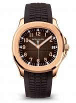Мужские спортивные часы Patek Philippe Aquanaut 5167R-001 в розовом золоте, коричневый циферблат, коричневый каучук.