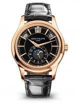 Мужские классические часы Patek Philippe Complications 5205R-010 в розовом золоте с годовым календарем и фазами Луны, черный циферблат, кожа кроко.