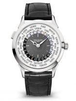 Мужские классические часы Patek Philippe Complications 5230G-014 в белом золоте с функцией мирового времени, темно-серый циферблат, кожа кроко.
