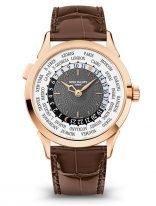 Мужские классические часы Patek Philippe Complications 5230R-012 в розовом золоте в функцией мирового времени, темно-серый циферблат, кожа кроко.