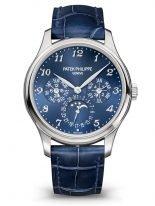 Мужские часы Patek Philippe Grand Complications 5327G-001 в белом золоте, вечный календарь с фазами Луны, синий циферблат, синяя кожа кроко.