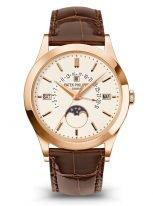 Мужские классические часы Patek Philippe Grand Complications 5496R-001 в розовом золоте, вечный календарь с ретроградной датой, фазами Луны, коричневая кожа.