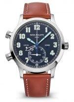 Мужские часы Patek Philippe Complications 5524G-001 в белом золоте с функцией второго часового пояса, синий циферблат, винтажный ремешок