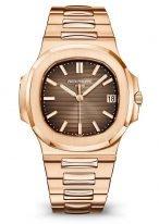Мужские спортивные часы Patek Philippe Nautilus 5711-1R-001 в розовом золоте с датой, коричневый циферблат, браслет из розового золота.