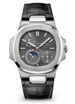 Мужские спортивные часы Patek Philippe Nautilus 5712G-001 в белом золоте, индикатор запаса хода и фазы Луны, серый циферблат, черная кожа кроко.
