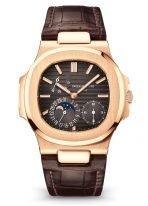 Мужские спортивные часы Patek Philippe Nautilus 5712R-001 в розовом золоте, индикатор запаса хода и фазы Луны, коричневый циферблат, кожаный ремешок кроко.