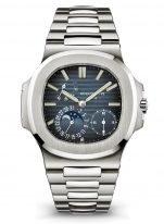Мужские спортивные часы Patek Philippe Nautilus 5712-1A-001 в стальном корпусе, индикатор запаса хода и фазами Луны, синий циферблат, стальной браслет.