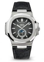 Мужские спортивные часы Patek Philippe Nautilus 5726A-001 в стальном корпусе, годовой календарь с фазами Луны, черный циферблат, черный ремешок кроко.
