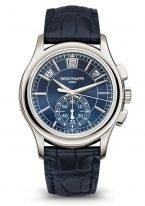 Мужские классические часы Patek Philippe Complications 5905P-001 в платиновом корпусе с синим циферблатом