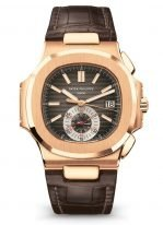 Мужские спортивные часы Patek Philippe Nautilus 5980R-001 в розовом золоте, хронограф и дата, коричневый циферблат, коричневая кожа кроко.