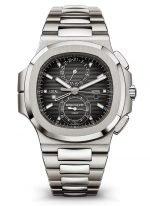 Мужские спортивные часы Patek Philippe Nautilus 5990-1A-001 в стальном корпусе, хронограф со временем второго часового пояса, черный циферблат, стальной браслет.