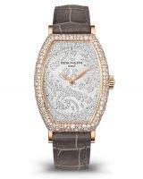Женские классические часы Patek Philippe Gondolo 7099R-001 в розовом золоте с бриллиантами, бриллиантовый циферблат, кожа кроко