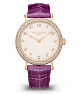 Женские классические часы Patek Philippe Calatrava 7200-200R-001 в розовом золоте с бриллиантовым рантом на кожаном ремешке.