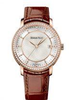 Женские классические часы Audemars Piguet Jules Audemars-15171OR_ZZ_A809CR_01 в розовом золоте с бриллиантовым рантом, светлый циферблат и кожаный ремешок.