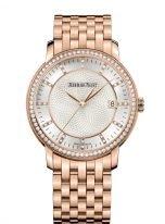 Женские классические часы Audemars Piguet Jules Audemars-15173OR_ZZ_1270OR_01 в розовом золоте с бриллиантовым рантом, светлый циферблат и браслет из розового золота.