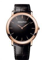 Мужские классические часы Audemars Piguet Jules Audemars-15180OR_OO_A002CR_01 в розовом золоте, с черным циферблатом, ремешком кроко.
