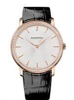 Мужские/женские классические часы Audemars Piguet Jules Audemars 15182OR_ZZ_A102CR_01 в розовом золоте с бриллиантовым рантом, светлый циферблат, на кожаном ремешке.