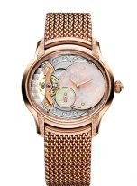 Женские классические часы Audemars Piguet Millenary 77244OR_GG_1272OR_01 в розовом сатинированном золоте с золотым циферблатом и браслетом из розового золота польского плетения.