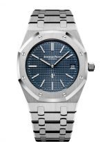 """Мужские наручные часы Audemars Piguet Royal Oak-15202ST_OO_1240ST_01 """"Jumbo"""" ультратонкие в стальном корпусе с синим циферблатом на стальном браслете."""