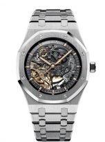 Мужские спортивные часы Audemars Piguet Royal Oak 15407ST_OO_1220ST_01 в стальном корпусе, скелетированные с двойным балансом, с серым циферблатом, на стальном браслете.