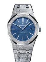 Женские/мужские наручные часы Audemars Piguet Royal Oak-15410BC_GG_1224BC_01 в белом золоте с эффектом мерцания (флорентийская обработка) с синим циферблатом, браслет из белого золота, лимит 200 штук.