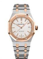 Мужские/женские наручные часы Audemars Piguet Royal Oak-15450SR_OO_1256SR_01 в биколорном корпусе (сталь/розовое золото) со светлым циферблатом на биколорном браслете.