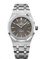 Женские спортивные часы Audemars Piguet Royal Oak 15450ST_OO_1256ST_02 в стальном корпусе с серым циферблатом на стальном браслете.