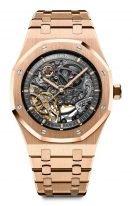 Мужские спортивные часы Audemars Piguet Royal Oak 15407OR_OO_1220OR_01 в розовом золоте, скелетон с двойным балансом, с серым скелетированным циферблатом, браслетом из розового золота.