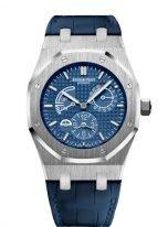 Мужские наручные часы Audemars Piguet Royal Oak-26124ST_OO_D018CR_01 со временем второго часового пояса, стальной корпус с синим циферблатом, на синем ремешке кроко.