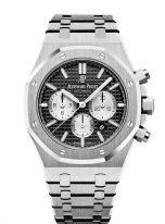 Мужские спортивные наручные часы Audemars Piguet Royal Oak-26331ST_OO_1220ST_02 хронограф в стальном корпусе с черным циферблатом, на стальном браслете.