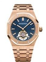 Мужские спортивные часы Audemars Piguet Royal Oak 26522OR_OO_1220OR_01 с турбийоном в розовом золоте, синий циферблат, на браслете из розового золота.