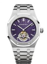 Мужские спортивные часы Audemars Piguet Royal Oak 26522ST_OO_1220ST_01 турбийон, стальной корпус с фиолетовым циферблатом, стальной браслет.