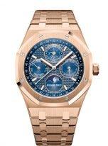Мужские спортивные часы Audemars Piguet Royal Oak 26574OR_OO_1220OR_02 вечный календарь с фазой Луны в розовом золоте с синим циферблатом на браслете из розового золота.