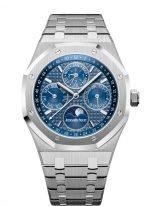 Мужские спортивные наручные часы Audemars Piguet Royal Oak-26574ST_OO_1220ST_02 с вечным календарем и фазами Луны в стальном корпусе с синим циферблатом на стальном браслете
