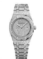 Женские наручные часы Audemars Piguet Royal Oak-67654BC_ZZ_1264BC_01 в белом золоте с бриллиантами, с бриллиантовым циферблатом и браслетом из белого золота.