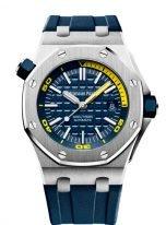 Мужские спортивные часы для дайвинга Audemars Piguet Royal Oak-15710ST_OO_A027CA_01 Diver в стальном корпусе, с синим циферблатом и синим каучуком.