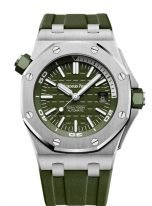 Мужские спортивные часы Audemars Piguet Royal Oak-15710ST_OO_A052CA_01 Diver в стальном корпусе с циферблатом цвета хаки, каучук цвета хаки.