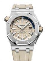 Мужские спортивные наручные часы Audemars Piguet Royal Oak-15710ST_OO_A085CA_01 Diver в стальном корпусе со светлым циферблатом, бежевый каучук.