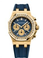 Женские спортивные часы Audemars Piguet Royal Oak Offshore 26231BA_ZZ_D027CA_01 хронограф в желтом золоте с бриллиантами, синий циферблат, синий каучук.