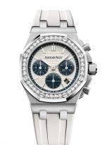 Женские спортивные часы Audemars Piguet Royal Oak Offshore 26231ST_ZZ_D010CA_01 хронограф в стальном корпусе с бриллиантами, светлый циферблат, на белом каучуковом ремешке.