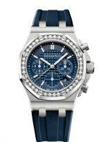 Женские спортивные часы Audemars Piguet Royal Oak Offshore-26231ST_ZZ_D027CA_01 женский хронограф в стальном корпусе с бриллиантами, синий циферблат, синий каучуковый ремешок.