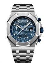 Мужские спортивные часы Audemars Piguet Royal Oak Offshore 26237ST_OO_1000ST_01 хронограф в стальном корпусе, с синим циферблатом, на стальном браслете.