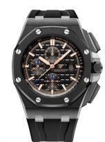 Мужские спортивные часы Audemars Piguet Royal Oak Offshore-26405CE_OO_A002CA_02 хронограф в керамическом корпусе с титаном, черный циферблат, каучуковый браслет в цвет циферблата.