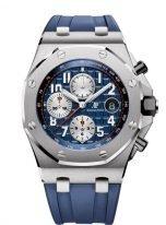 Мужские спортивные наручные часы Audemars Piguet Royal Oak Offshore-26470ST_OO_A027CA_01 хронограф в стальном корпусе с синим циферблатом, на синем каучуковом ремешке.