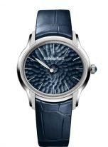 Женские классические часы Audemars Piguet Millenary 77266BC_GG_A326CR_01 в белом золоте, на синем циферблате единственная стрелка, синяя кожа кроко.